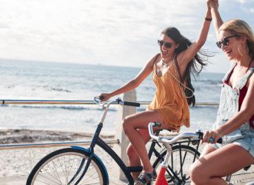 friends summer joy cycling